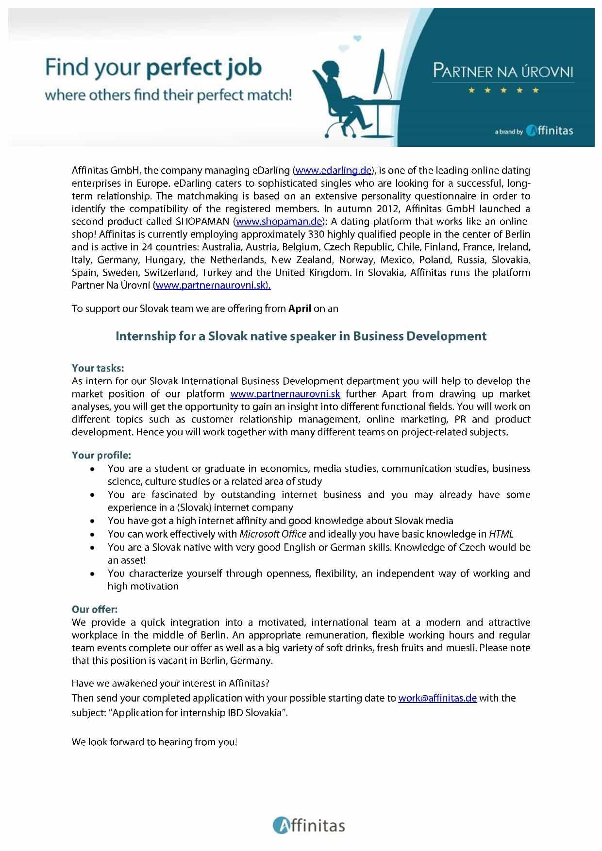 Affinitas internship IBD Slovakia