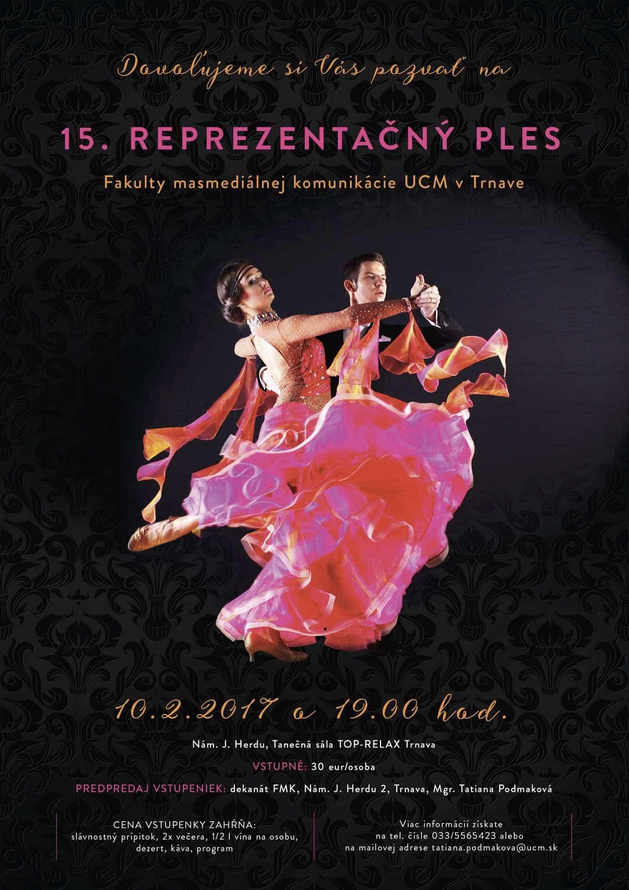 15. Reprezentačný ples FMK UCM v Trnave - plagát