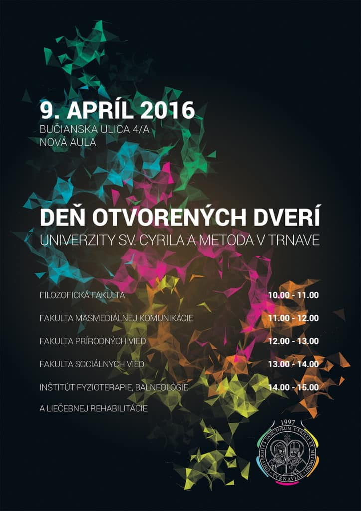 Deň otvorených dverí UCM 2016 - plagát