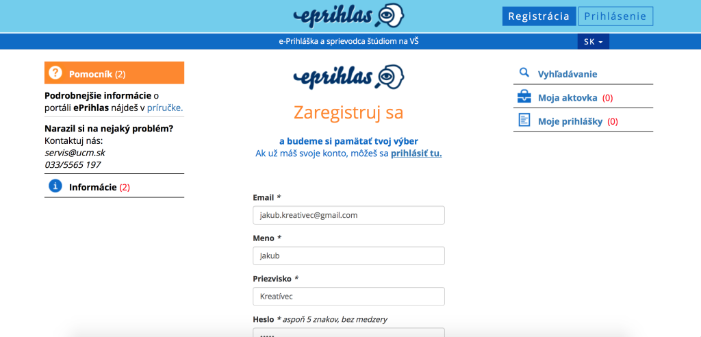 Elektronická prihláška - registrácia