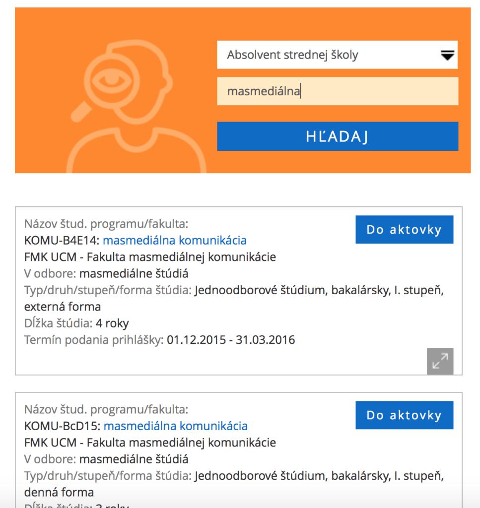 Elektronická prihláška - výber študijného programu
