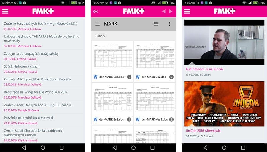 Mobilná aplikácia FMK