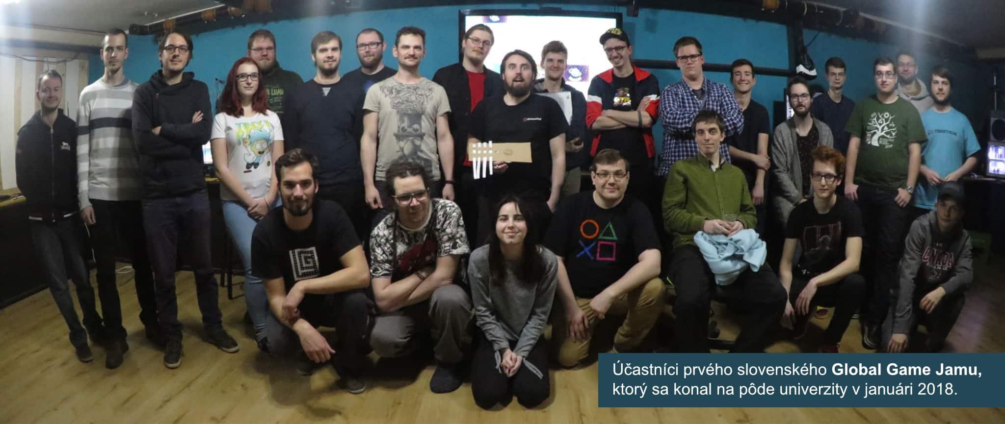 Účastníci prvého slovenského Global Game Jamu,ktorý sa konal na pôde univerzity v januári 2018.