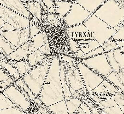 Historical map of Trnava Click to zoom in in a new tab