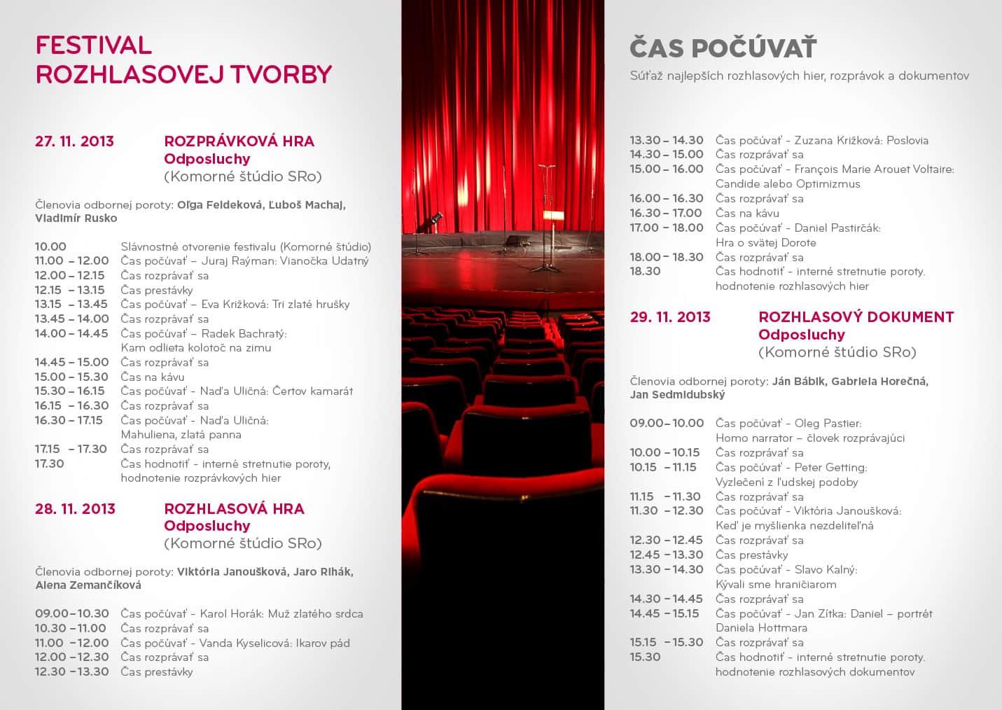 Festival rozhlasovej tvorby - program