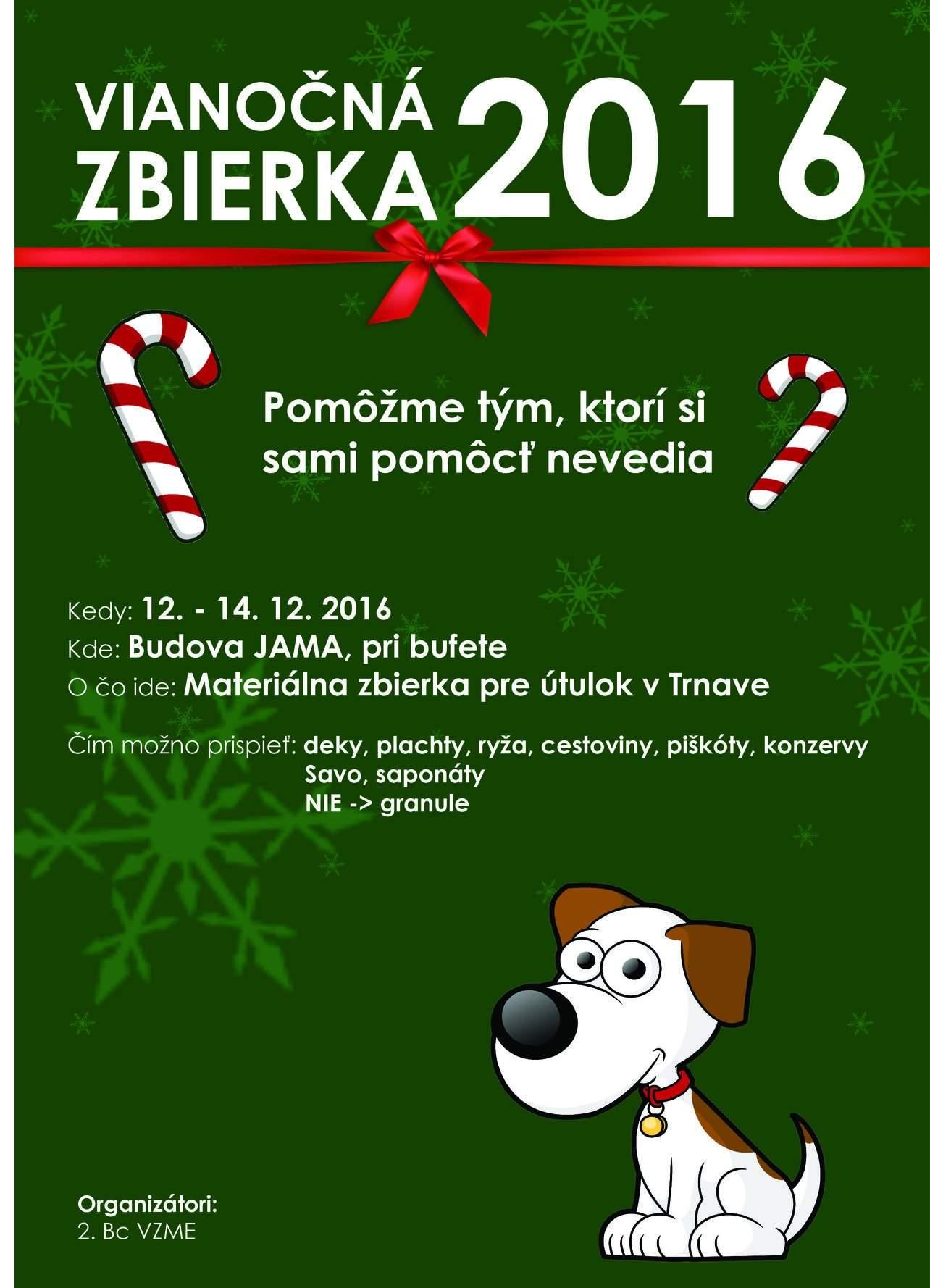 Vianočná zbierka pre psí útulok 2016 - plagát