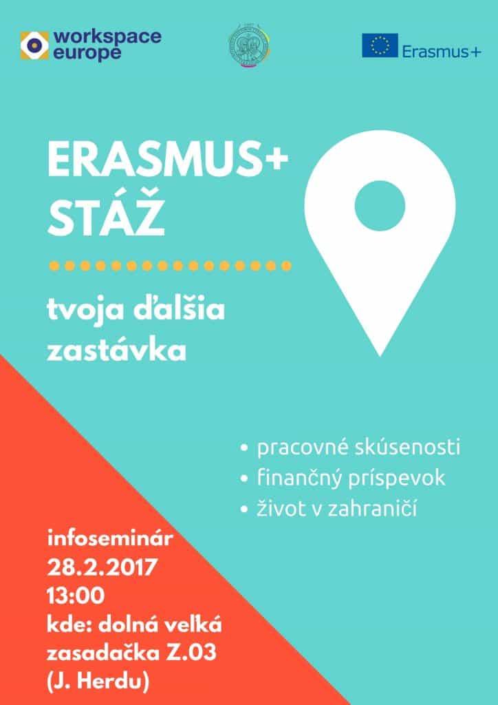 Infoseminár Erasmus+ stáž - plagát